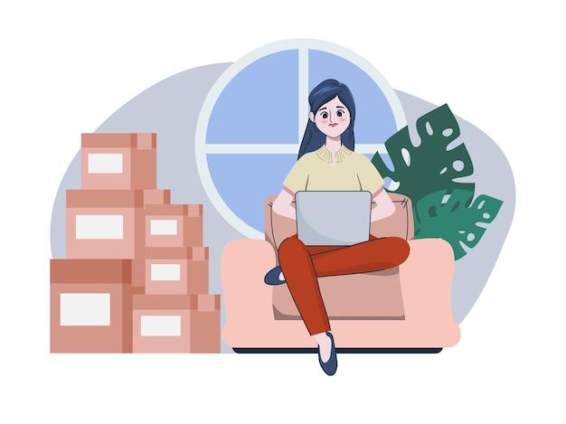 Jonge mooie verkoopster is online verkoper