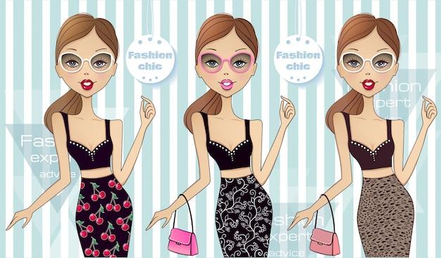 Jonge mooie vrouw. collectie van het meisje in verschillende outfits.