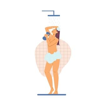 Jonge mooie vrouw die een douche neemt, platte vectorillustratie geïsoleerd op wit