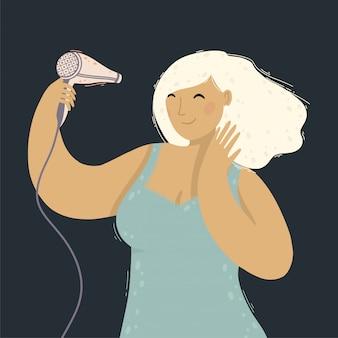 Jonge mooie vrouw met mooi kapsel dat haar haar droogt met de haardroger.