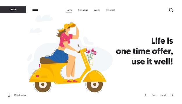 Jonge mooie vrouw rijden scooter website banner. glimlachend vrouwelijk personage rijden motor. landingspagina voor stadsvervoer.