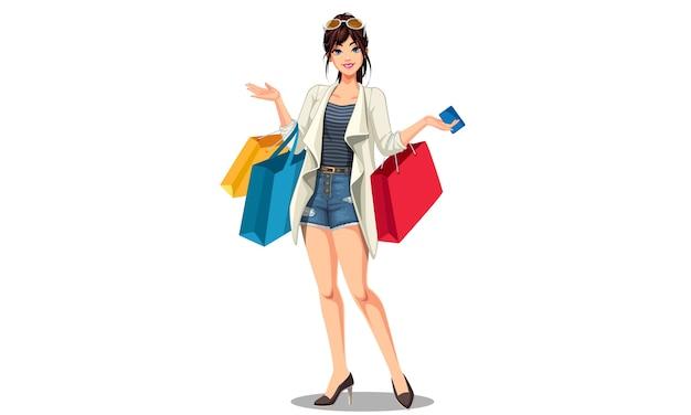 Jonge mooie winkel vrouw met boodschappentassen