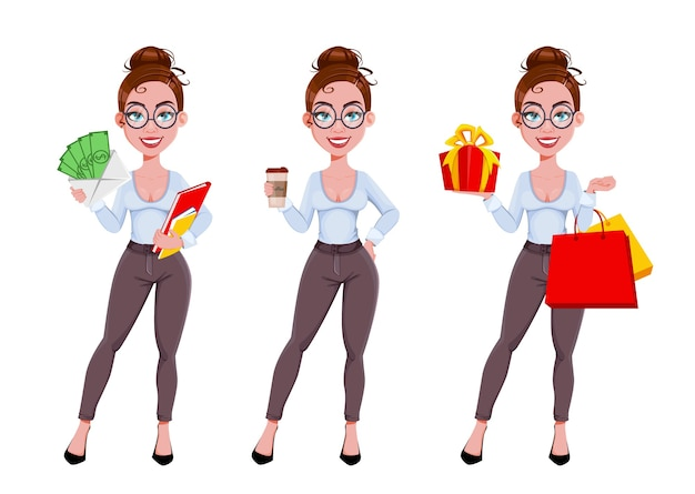 Jonge mooie zakenvrouw, set van drie poses
