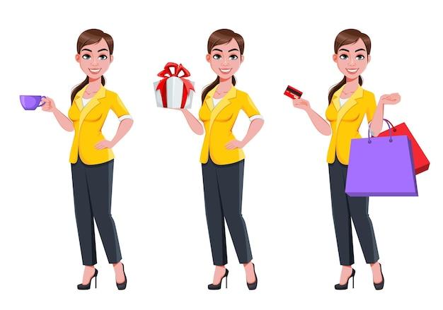 Jonge mooie zakenvrouw set van drie poses