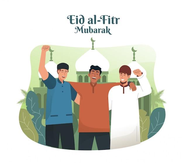 Jonge moslim man omhelst zijn vrienden en viert eid mubarak