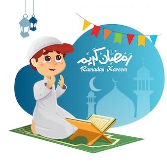 Jonge moslimjongen die voor allah bidt
