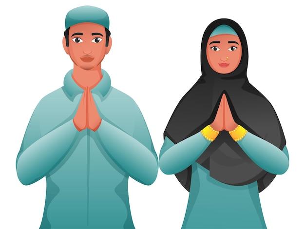 Jonge moslimman en vrouw die namaste (welkom) op witte achtergrond doen.
