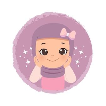 Jonge moslimvrouw in hijab in schattige pose. online bedrijfslogo of mascotte. vlakke stijl ontwerp illustraties.