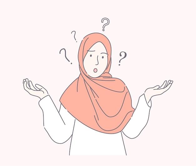 Jonge moslimvrouw verward hand getrokken stijl, schattige tiener met sjaal spreidt hand met vraagteken geïsoleerd.