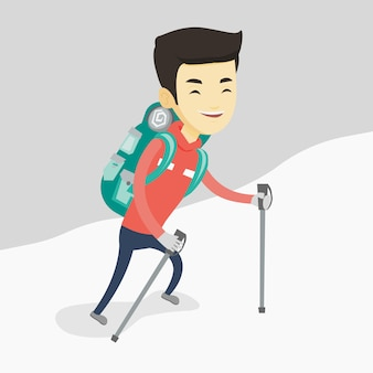 Jonge mountaneer die een sneeuwrug beklimt.