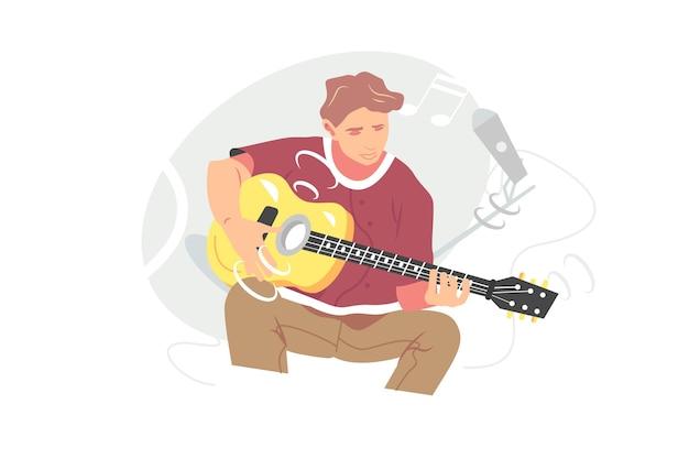 Jonge muzikant gitaar spelen instrument vectorillustratie. gitarist die lied zingt en akoestische vlakke stijl speelt. muziek, hobby, vrije tijd concept. geïsoleerd op witte achtergrond