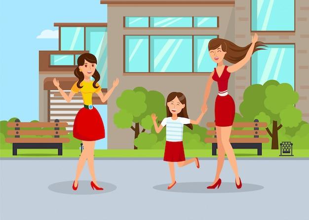 Jonge nanny met meisje platte vectorillustratie