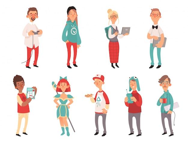 Jonge nerds. slimme tiener geeks jongens en meisjes tieners technologie liefhebbers karakters