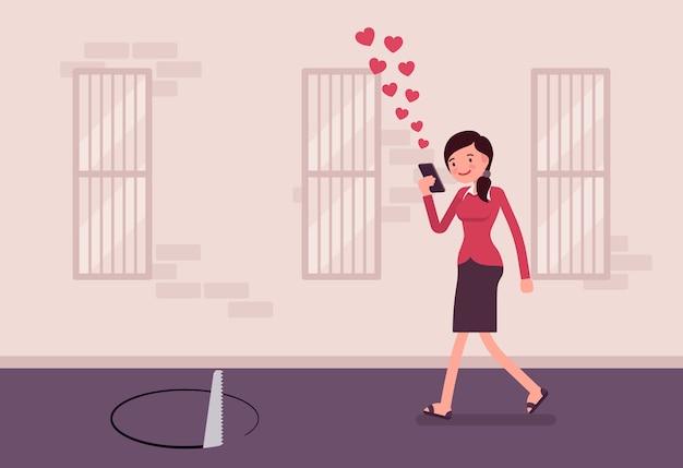 Jonge onbezorgde vrouw die met telefoon loopt