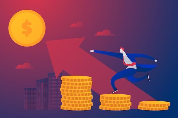 Jonge ondernemer investeert geld in een winstgevende zakenpartner. plat karakter
