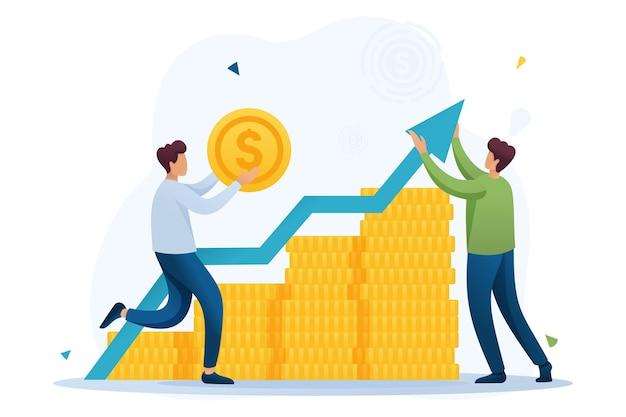 Jonge ondernemer investeert geld in een winstgevende zakenpartner