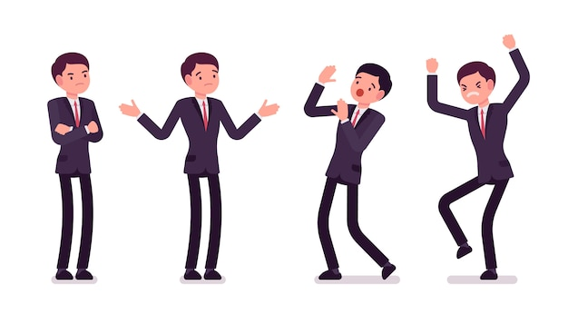 Jonge ondernemers in formele slijtage die negatieve emoties uiten, verschillende poses