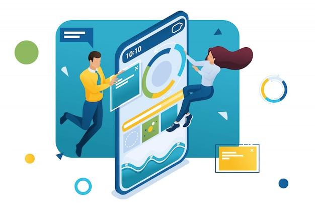 Jonge ondernemers verzamelen gegevens op internet. concept van gegevensverzameling