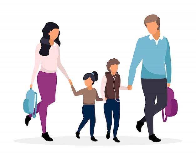 Jonge ouders met schoolkinderen vlakke afbeelding. familie samen naar school gaan en hand in hand stripfiguren. vader en moeder met twee preteen kinderen. schooljongen en schoolmeisje