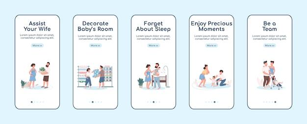 Jonge ouders onboarding platte schermsjabloon voor mobiele app. kinderopvang en ouderschap. doorloop website-stappen met tekens. ux, ui, gui cartoon-interface voor smartphones, set hoesjes