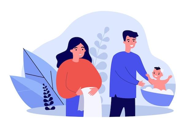 Jonge ouders wassen babyjongen in bekken. kind, moeder, vader platte vectorillustratie
