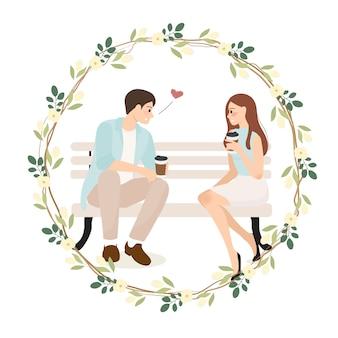 Jonge paarbekentenis terwijl het hebben van koffieillustratie