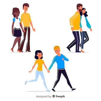 Jonge paren die samen geïllustreerd lopen