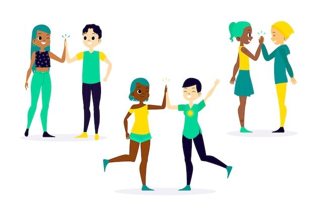 Jonge paren geven high five