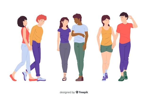 Jonge paren samen wandelen