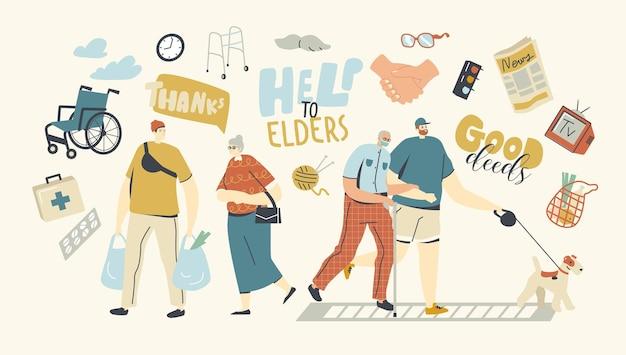 Jonge personages helpen senioren. oude man houdt hand vast van jongen die samen met hond loopt
