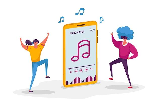 Jonge personages luisteren muziekspeler