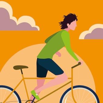 Jonge personenvervoerfiets met hemelsinaasappel