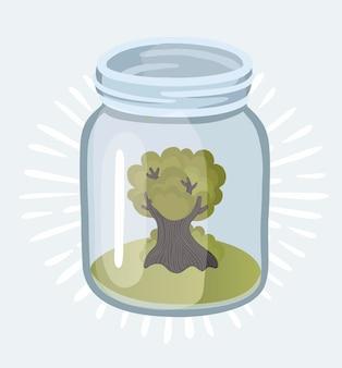 Jonge plant groeit in de glazen potten met geld (munten) - besparingen en investeringsconcept Premium Vector