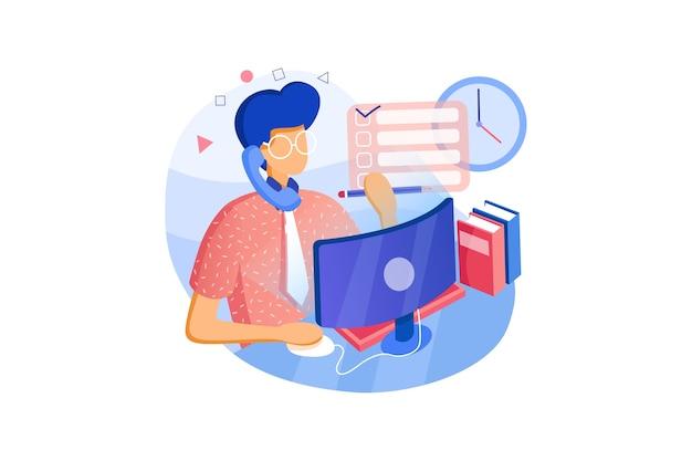 Jonge platte zakenman met bril op de computer op het werk