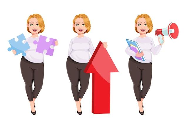 Jonge plus grootte mooie vrouw mooie onderneemster met overgewicht