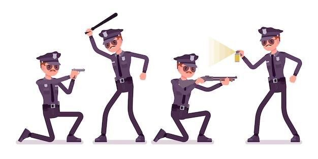 Jonge politieagent bij aanval en verdediging