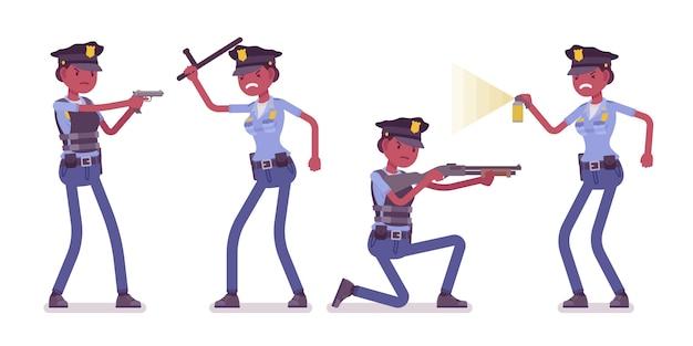 Jonge politieagente bij aanval en verdediging