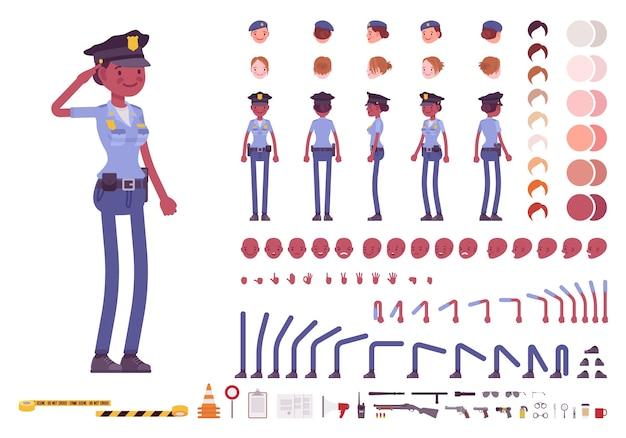 Jonge politieagente creatie tekenset