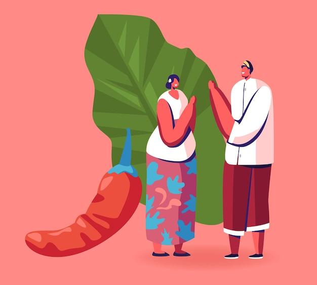 Jonge positieve maleisische man en vrouw in traditionele kostuums die elkaar begroeten in de buurt van enorme rode chilipeper. cartoon afbeelding