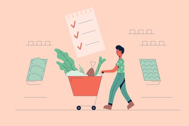 Jonge positieve man stripfiguur met verse gezonde veganistische ingrediënten in winkelwagentje tas in supermarkt voor het koken van evenwichtige maaltijden