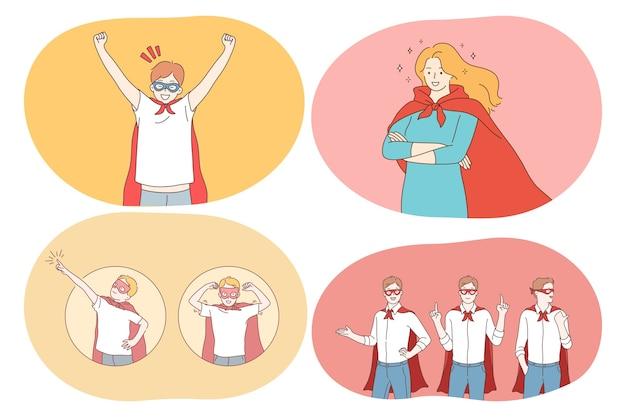 Jonge positieve mensen stripfiguren in superman kostuum mantel