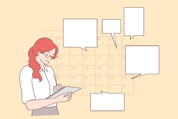 Jonge positieve zakenvrouw planning dag afspraak plannen in kalender, berichten verzenden, gebeurtenis toevoegen, herinneringen in tablet zetten