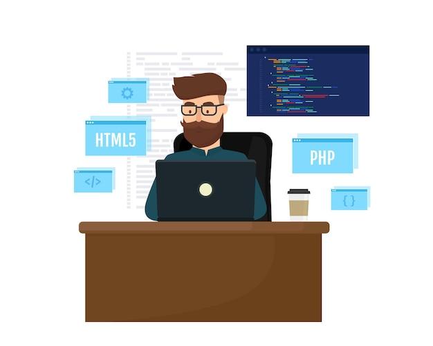 Jonge programmeur die een nieuw project codeert met behulp van het programmeer- en engineeringconcept van de laptop