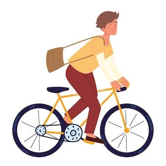 Jonge rijdende fiets