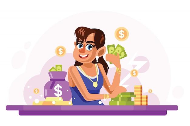 Jonge rijke vrouw vectorillustratie