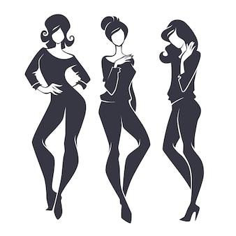 Jonge, schoonheid, mode en modieuze meisjes, silhouetten instellen