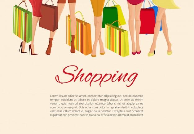 Jonge sexy meisjes slanke benen en met mode tassen winkelen poster vector illustratie