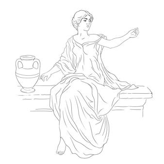 Jonge slanke vrouw in oude griekse tuniek zit op een stenen borstwering