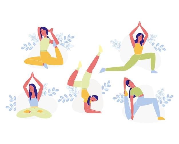 Jonge sportieve vrouw doen yoga of pilates oefeningen
