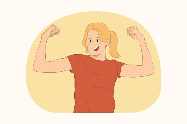Jonge sportieve vrouw toont biceps spieren concept
